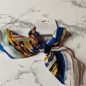 Striped knotted scarf scrunchie